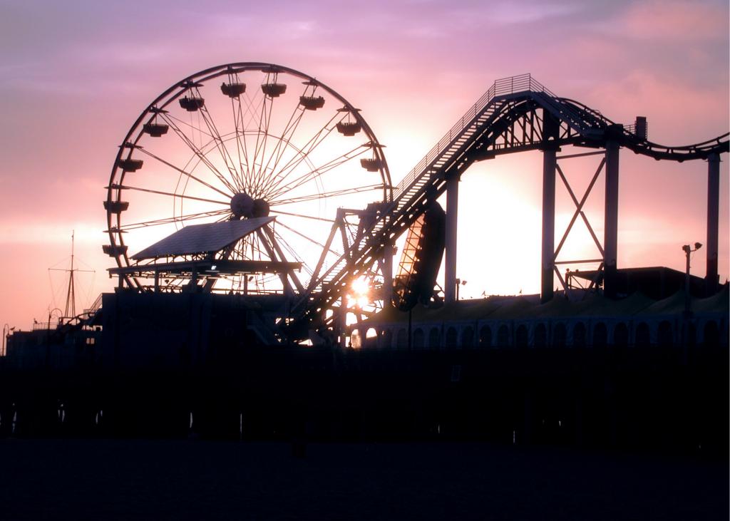 ferris wheel, roller coaster & boat ride at local amusement park