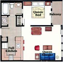 one bedroom floor plans - myrtle beach resort